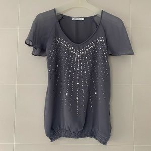 Grey Flutter Sleeve Tee with Studs and Jewels Sz 0